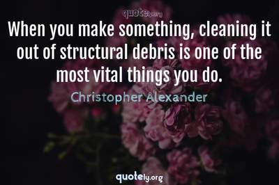 Photo Quote of When you make something, cleaning it out of structural debris is one of the most vital things you do.