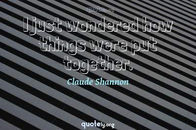 Photo Quote of I just wondered how things were put together.
