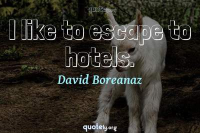 Photo Quote of I like to escape to hotels.