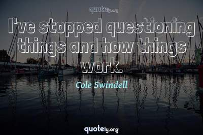Photo Quote of I've stopped questioning things and how things work.