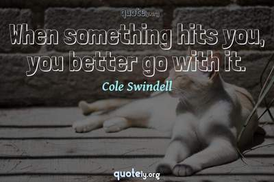Photo Quote of When something hits you, you better go with it.