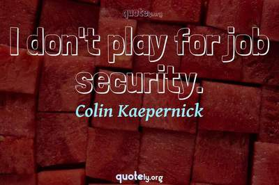 Photo Quote of I don't play for job security.