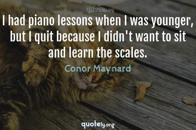 Photo Quote of I had piano lessons when I was younger, but I quit because I didn't want to sit and learn the scales.
