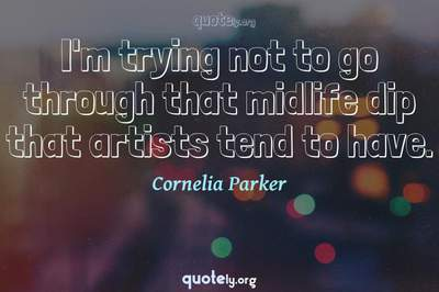 Photo Quote of I'm trying not to go through that midlife dip that artists tend to have.