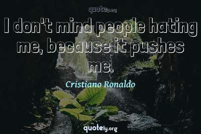Photo Quote of I don't mind people hating me, because it pushes me.