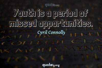 Photo Quote of Youth is a period of missed opportunities.