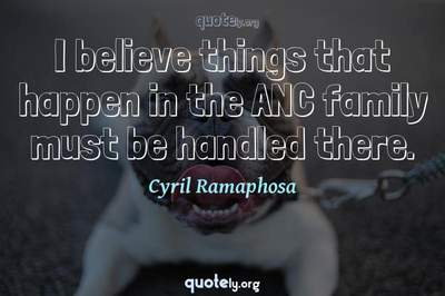Photo Quote of I believe things that happen in the ANC family must be handled there.