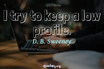Photo Quote of I try to keep a low profile.