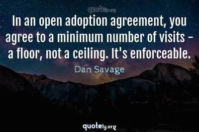 Photo Quote of In an open adoption agreement, you agree to a minimum number of visits - a floor, not a ceiling. It's enforceable.