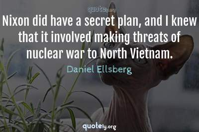 Photo Quote of Nixon did have a secret plan, and I knew that it involved making threats of nuclear war to North Vietnam.