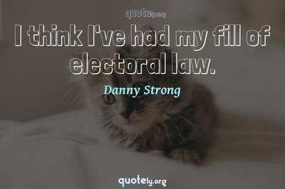 Photo Quote of I think I've had my fill of electoral law.
