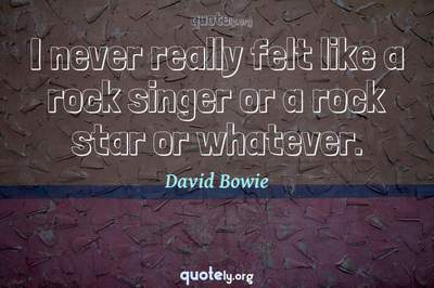 Photo Quote of I never really felt like a rock singer or a rock star or whatever.