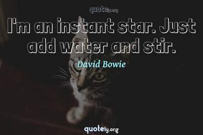 Photo Quote of I'm an instant star. Just add water and stir.