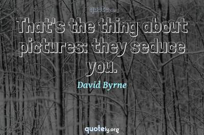 Photo Quote of That's the thing about pictures: they seduce you.