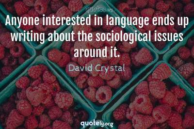Photo Quote of Anyone interested in language ends up writing about the sociological issues around it.