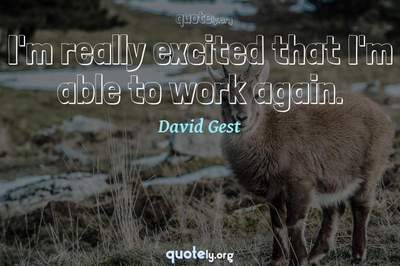 Photo Quote of I'm really excited that I'm able to work again.