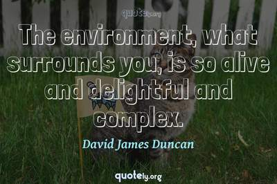 Photo Quote of The environment, what surrounds you, is so alive and delightful and complex.
