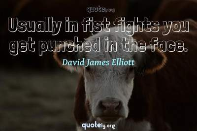 Photo Quote of Usually in fist fights you get punched in the face.