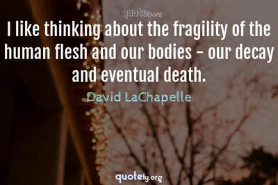 Photo Quote of I like thinking about the fragility of the human flesh and our bodies - our decay and eventual death.