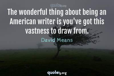 Photo Quote of The wonderful thing about being an American writer is you've got this vastness to draw from.