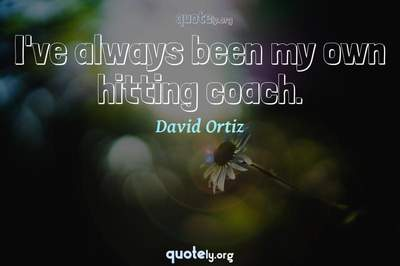 Photo Quote of I've always been my own hitting coach.