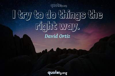 Photo Quote of I try to do things the right way.