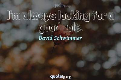 Photo Quote of I'm always looking for a good role.
