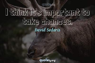 Photo Quote of I think it's important to take chances.