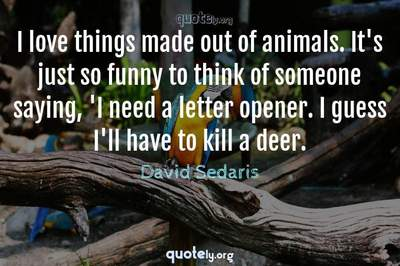 Photo Quote of I love things made out of animals. It's just so funny to think of someone saying, 'I need a letter opener. I guess I'll have to kill a deer.