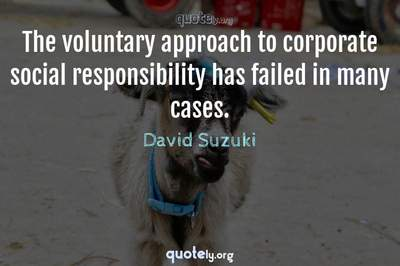 Photo Quote of The voluntary approach to corporate social responsibility has failed in many cases.