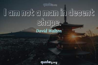 Photo Quote of I am not a man in decent shape.