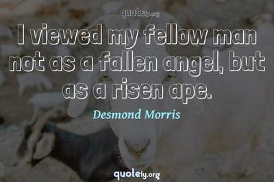 Photo Quote of I viewed my fellow man not as a fallen angel, but as a risen ape.