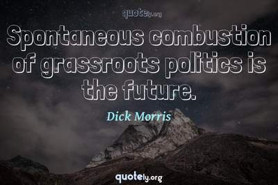 Photo Quote of Spontaneous combustion of grassroots politics is the future.