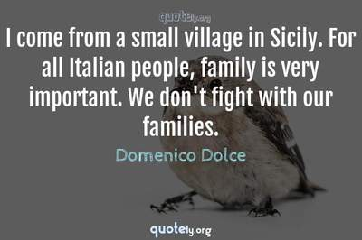 Photo Quote of I come from a small village in Sicily. For all Italian people, family is very important. We don't fight with our families.