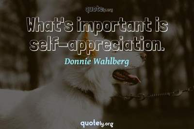 Photo Quote of What's important is self-appreciation.