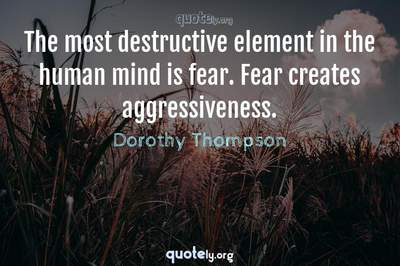 Photo Quote of The most destructive element in the human mind is fear. Fear creates aggressiveness.