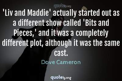 Photo Quote of 'Liv and Maddie' actually started out as a different show called 'Bits and Pieces,' and it was a completely different plot, although it was the same cast.