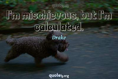 Photo Quote of I'm mischievous, but I'm calculated.