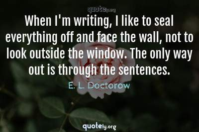 Photo Quote of When I'm writing, I like to seal everything off and face the wall, not to look outside the window. The only way out is through the sentences.