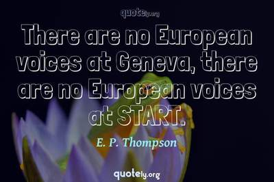 Photo Quote of There are no European voices at Geneva, there are no European voices at START.