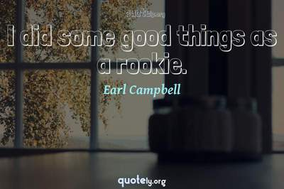 Photo Quote of I did some good things as a rookie.