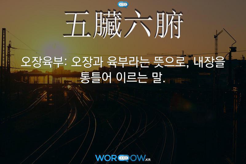 五臟六腑(오장육부): 오장과 육부라는 뜻으로, 내장을 통틀어 이르는 말.