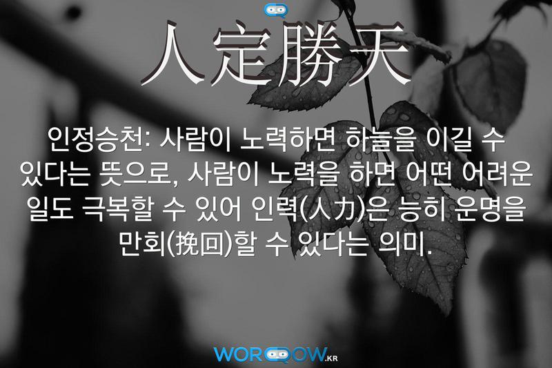 人定勝天(인정승천): 사람이 노력하면 하늘을 이길 수 있다는 뜻으로, 사람이 노력을 하면 어떤 어려운 일도 극복할 수 있어 인력(人力)은 능히 운명을 만회(挽回)할 수 있다는 의미.