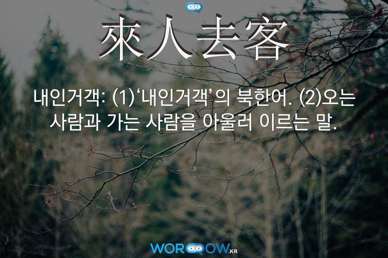 來人去客(내인거객)의 의미: (1)'내인거객'의 북한어. (2)오는 사람과 가는 사람을 아울러 이르는 말.