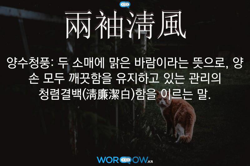 兩袖淸風(양수청풍): 두 소매에 맑은 바람이라는 뜻으로, 양 손 모두 깨끗함을 유지하고 있는 관리의 청렴결백(淸廉潔白)함을 이르는 말.