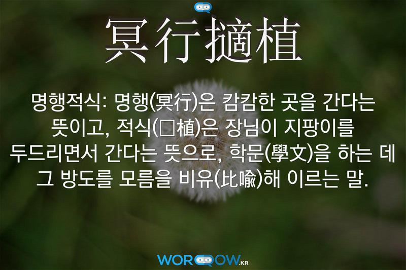 冥行擿植(명행적식): 명행(冥行)은 캄캄한 곳을 간다는 뜻이고, 적식(擿植)은 장님이 지팡이를 두드리면서 간다는 뜻으로, 학문(學文)을 하는 데 그 방도를 모름을 비유(比喩)해 이르는 말.