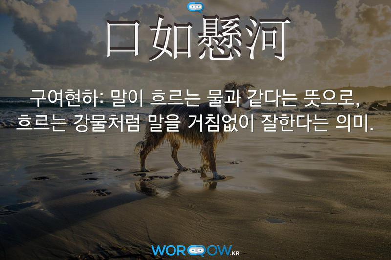 口如懸河(구여현하): 말이 흐르는 물과 같다는 뜻으로, 흐르는 강물처럼 말을 거침없이 잘한다는 의미.