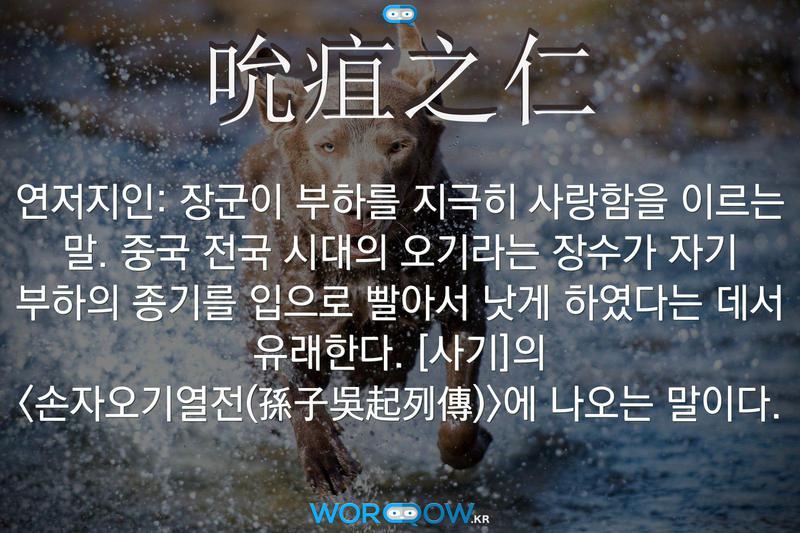吮疽之仁(연저지인): 장군이 부하를 지극히 사랑함을 이르는 말. 중국 전국 시대의 오기라는 장수가 자기 부하의 종기를 입으로 빨아서 낫게 하였다는 데서 유래한다. ≪사기≫의 <손자오기열전(孫子吳起列傳)>에 나오는 말이다.