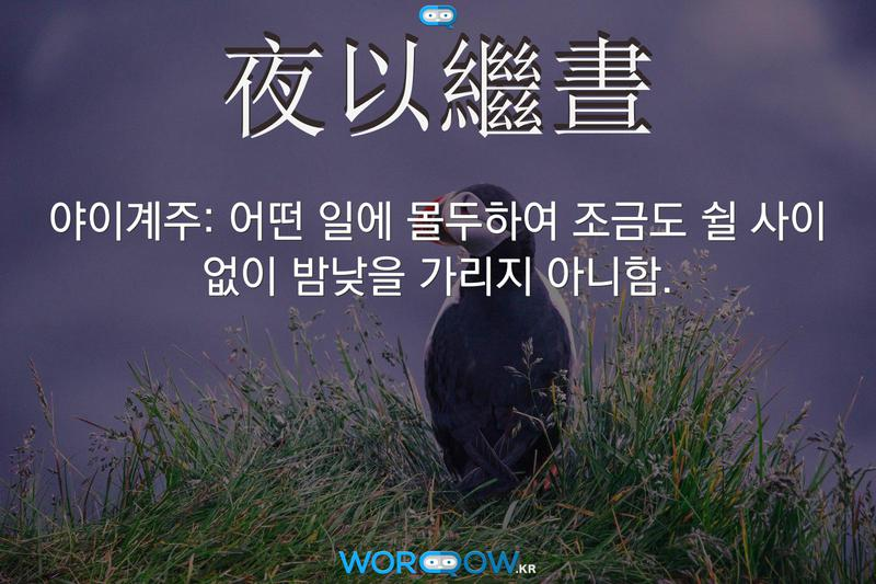 夜以繼晝(야이계주): 어떤 일에 몰두하여 조금도 쉴 사이 없이 밤낮을 가리지 아니함.
