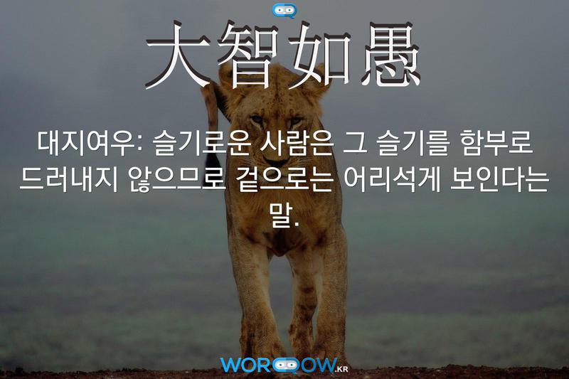 大智如愚(대지여우): 슬기로운 사람은 그 슬기를 함부로 드러내지 않으므로 겉으로는 어리석게 보인다는 말.